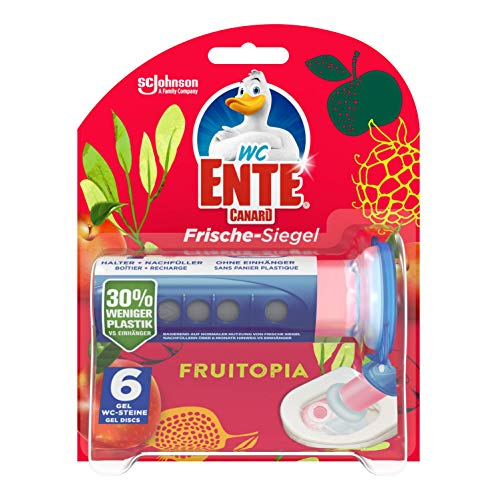 WC-Ente Frische-Siegel, WC Stein aus Gel, Spendergriff inkl. Nachfüller, Fruitopia, 1er Pack (1 x 36 ml)