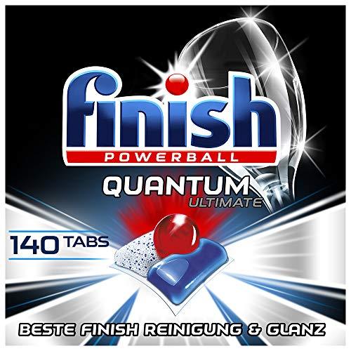 Finish Quantum Ultimate Spülmaschinentabs – Geschirrspültabs mit 3-fach Wirkung – Kraftvolle Reinigung, Fettlösekraft und Glanz – Gigapack mit 140...