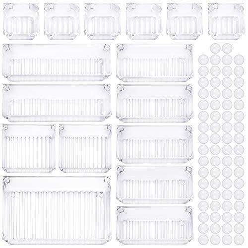 CKATE 16 Stücke Schubladen Ordnungssystem, 5 Größen Getrennte Schublade Organizer Ordnungssystem, Antirutsch Transparent Make-up Organizer Schublade für...