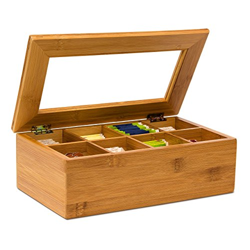 Relaxdays Teebox aus Bambus H x B x T: ca. 9 x 28 x 16 cm Teekasten mit 8 Fächern Teebeutelbox aus Holz mit Deckel samt Sichtluke Teekiste zum Bewahren des...
