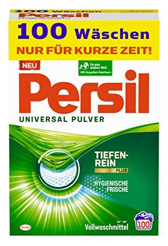 Persil Universal Pulver Waschmittel (100 Waschladungen), Vollwaschmittel mit Tiefenrein-Plus Technologie bekämpft hartnäckigste Flecken für strahlende...