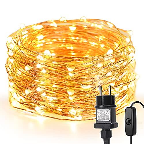 LE 10M LED Lichterkette Draht aus Kupferdraht, 100 LEDs, Wasserdicht IP65, Strombetrieben, ideal Stimmungslichter für Weihnachtsdeko Innen Außen Weihnachten...