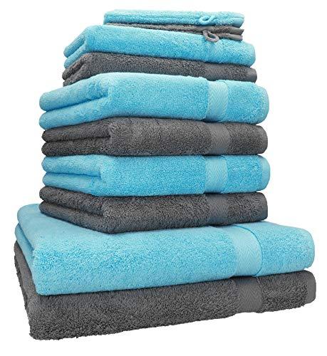 Betz 10-TLG. Handtuch-Set Premium 100% Baumwolle 2 Duschtücher 4 Handtücher 2 Gästetücher 2 Waschhandschuhe Farbe Türkis & Anthrazit