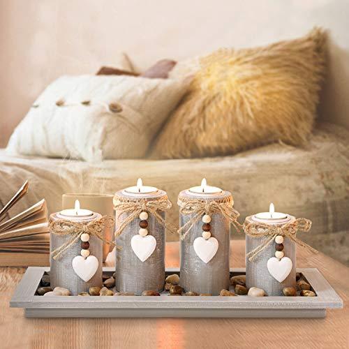 GoMaihe Kerzenständer Teelichthalter 4 Stück, Kerzenleuchter Kerzenhalter Tischdeko Deko Wohnzimmer Schlafzimmer Balkon Badezimmer, Dekoration...