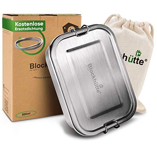 Blockhütte® Premium Edelstahl Brotdose [800ml] für Kinder inkl. Fächern & GRATIS Ersatzdichtung. - Die Frischhaltedose mit Trennwand ist auslaufsicher. -...