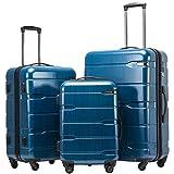 COOLIFE Koffer Reisekoffer Vergrößerbares Gepäck (Nur Großer Koffer Erweiterbar) PC + ABS Material mit TSA-Schloss und 4 Rollen(Caribbean Blue, Koffer-Set)