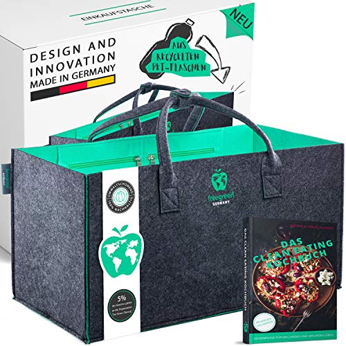 freegreen® Premium Einkaufstasche aus recycelten PET-Flaschen I 100% nachhaltig & umweltbewusst I Nachhaltige Produkte I Unzählige Anwendung als Einkaufskorb...