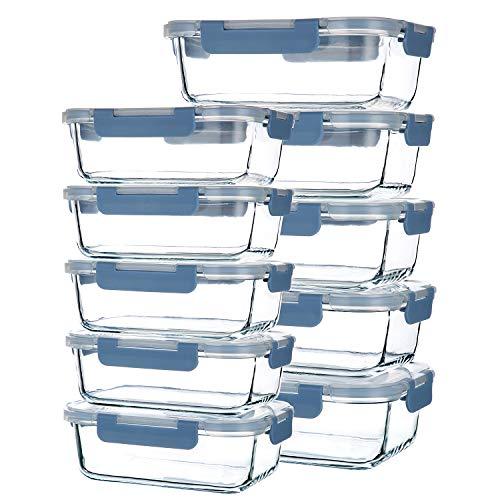 CREST 10-er Set Glas Frischhaltedosen, Vorratsdosen Glas mit Deckel, BPA-frei, perfekt für Meal prep, stahlblau