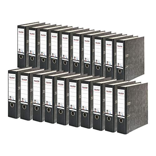 Original Falken 20er Pack Recycling-Ordner Wolkenmarmor. Made in Germany. 8 cm breit DIN A4 schwarzer Rücken Ringordner Aktenordner Briefordner Büroordner...