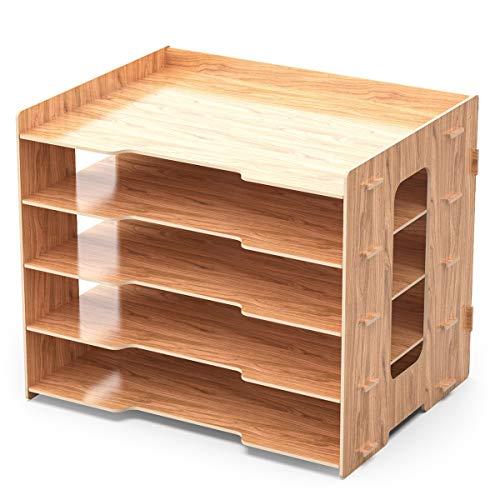 Lesfit Schreibtisch Organizer Dokumentenablage Ablagesystem, Ablagefächer Holz-Optik, Büro Aktenablage Schreibtischregal, Bürotisch A4 Papier Briefablage...