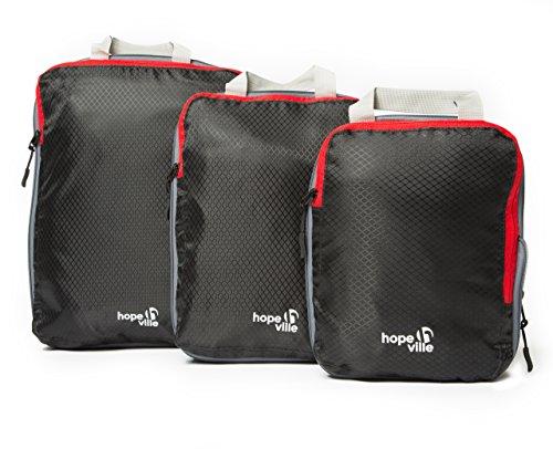 HOPEVILLE Packtaschen Set mit Kompression, 3-teilige Premium Koffertaschen für perfekt organisiertes Reisegepäck, ultraleichte Reise Organizer und...