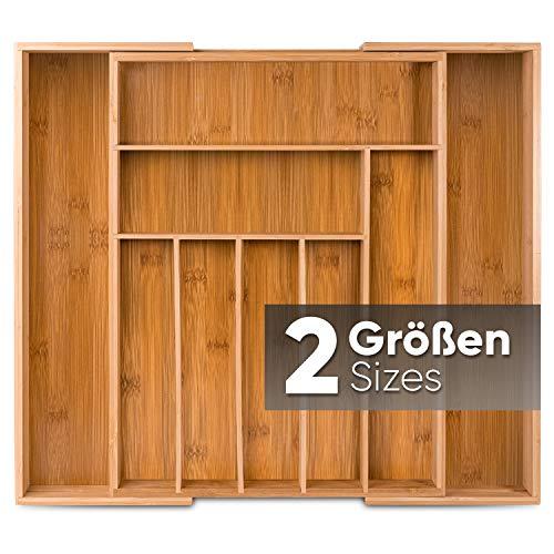Loco Bird Besteckkasten für Schubladen aus Bambus – Ausziehbar bis zu 9 Fächern - Nützlicher Besteckeinsatz fur Küchen - Schubladeneinsatz für...