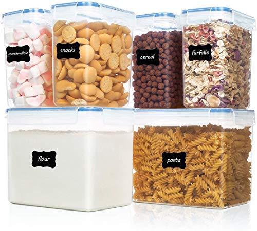 Vtopmart 6 Stück Vorratsdosen Set,Müsli Schüttdose & Frischhaltedosen, BPA frei Kunststoff Vorratsdosen luftdicht, 24 Etiketten für Getreide, Mehl, Zucker...