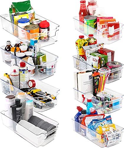 KICHLY Hochwertige vorratsschrank küche organizer - Set von 8 (4 große, 4 kleine Behälter) Stauraum für kühlschrank, Schränke, Regale, spülbecken,...