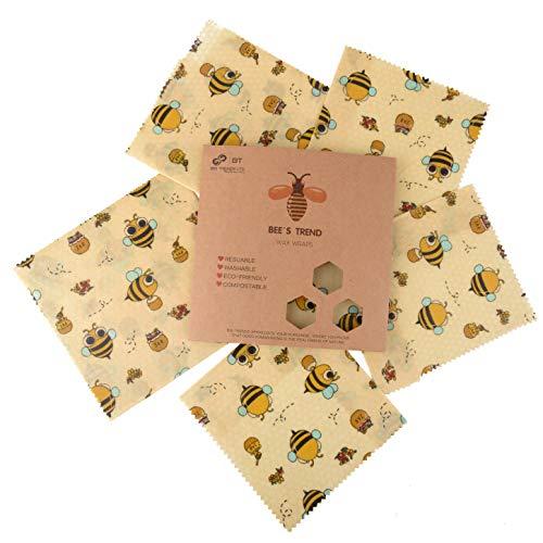 Bee's Trend 6er Set Wachstücher für Lebensmittel | Plastikfreie Produkte für Ihren Zero Waste Lifestyle | Beeswax Wrap, Wraps aus Bienenwachs Bio, Waschbare...