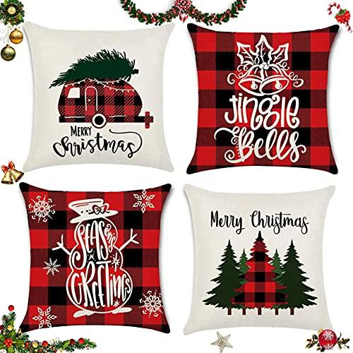 Sunshine smile 4 Stück Kissenbezug Weihnachten,Weihnachtskissenbezug,Kissenbezug Frohe Weihnachten,Wohnkultur Leinen Dekokissen,Weihnachten...