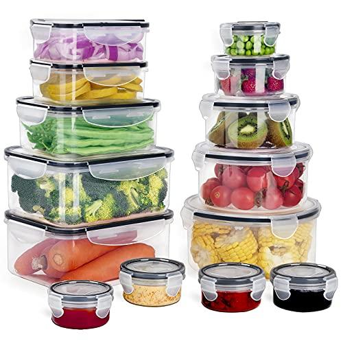 GoMaihe Frischhaltedose mit Deckel 28 -teiliges Set (14 Behälter + 14 Deckel) Frischhaltedosen Kunststoff Aufbewahrungsbox Stapelbar, BPA-Frei Lunchbox für...