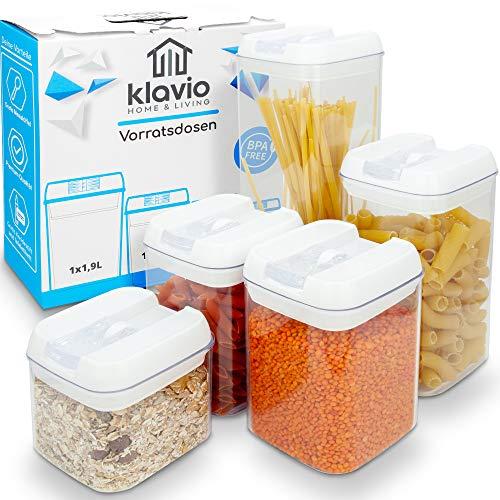Klavio ®️ Vorratsdosen | Frischhaltedosen | 5 luftdichte und stabile Aufbewahrungsboxen für Müsli, Mehl, Zucker | BPA freie Vorratsbehälter
