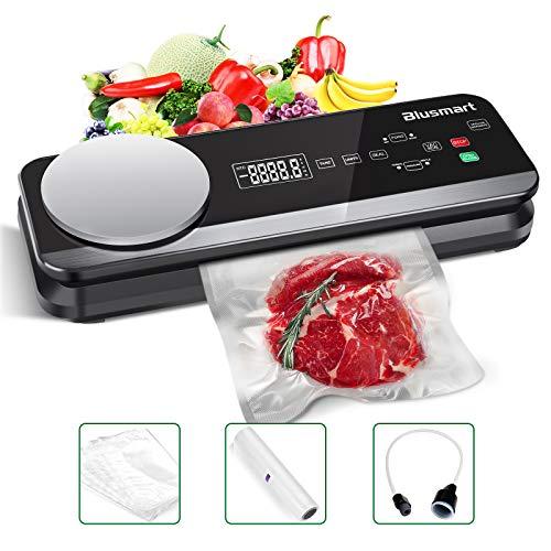 Vakuumierer Blusmart 0.8 Bar Vollautomatisches Vakuumiergerät für Trockene und Feuchte Lebensmittel, mit eingebauter Küchenwaage und LCD-Display, inkl...