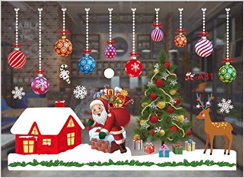 Sunshine smile fensterbild Weihnachten,Fensteraufkleber,PVC Fensterbilder,Weihnachten Fensterdeko,selbstklebend Fensterfolie,Weihnachtsdekoration,deko...