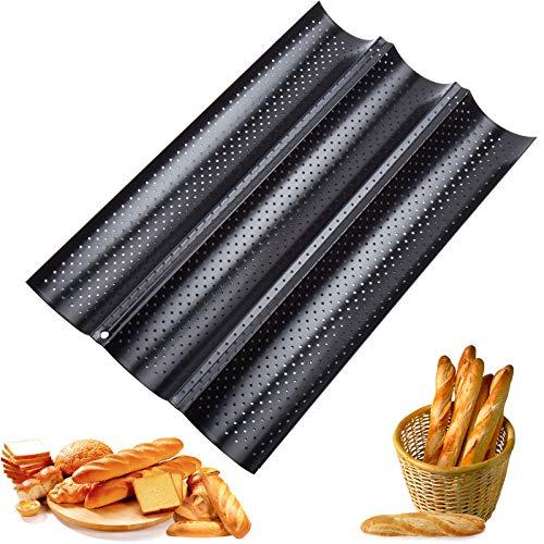 QTTO Baguette-Backblech, Baguette Backform für 3 Baguettes, Baguetteblech mit Hochwertiger Antihaftbeschichtung, Brötchen Backform mit Gut Wärmeleitung, 38 x...