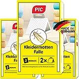 PIC Kleider-mottenfalle – Dreierpack = 6 Stück – Mittel gegen Kleidermotten, geeigneter Mottenschutz für den Kleiderschrank und sonstiger Lagerung von Kleidung