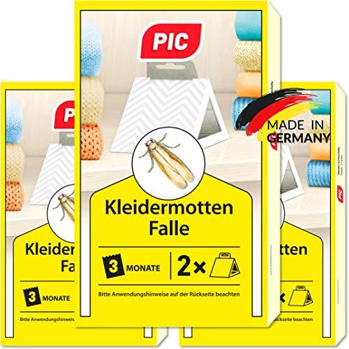 PIC Kleider-mottenfalle – Dreierpack = 6 Stück – Mittel für Kleidermotten, geeignet für den Kleiderschrank und sonstige Lagerung von Kleidung
