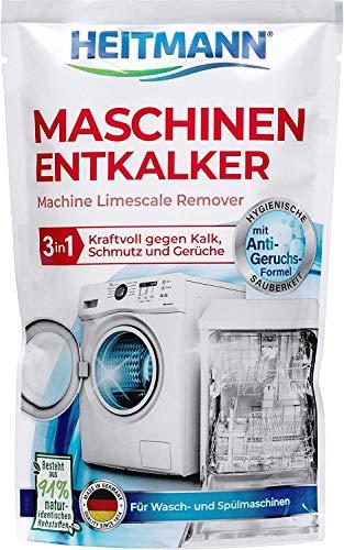 Heitmann Maschinen Entkalker für Waschmaschinen und Geschirrspüler: hochwirksame Entkalkung mit 1 Durchlauf, Reiniger gegen Kalkablagerungen und unangenehme...