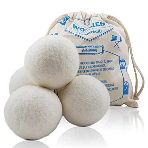 Trocknerbälle - Bälle aus 100% Schafswolle zur Nutzung im Wäschetrockner, für schnelleres Trocknen und weichere Wäsche. Zeit und Kosten sparen durch...