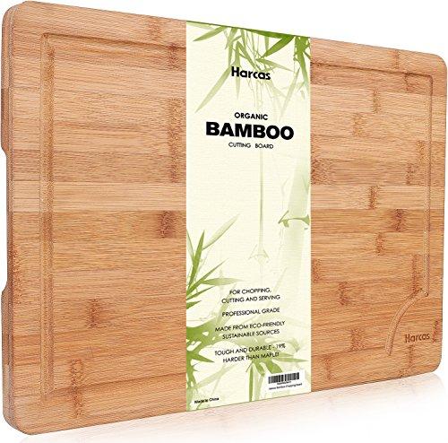 Premium Schneidebrett aus Bio Bambus von Harcas. XL-Schneidebrett 45cm x 30cm x 2cm. Ideal für Fleisch, Gemüse und Käse. Professionell, langlebig und...