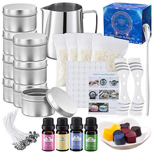 Aischens Kerzenherstellung Kit, DIY Kerzenherstellung Zubehör, Duftkerze Geschenke Set, Enthält Edelstahlbecher, Bienenwachs, Kernclips, Löffel, Blechdosen,...