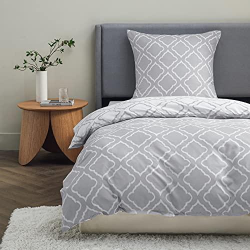 BEDSURE Bettwäsche 135x200 Mikrofaser 2teilig - Bettbezug 135 x 200 2er Set mit 80x80 cm Kissenbezug,Gitter grau für Einzelbett mit Reißverschluss