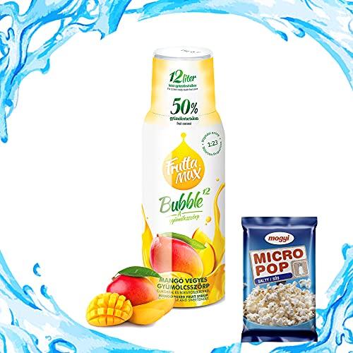 Frutta Max Getränkesirup Frucht-sirup Konzentrat | Sorten zur Wahl | weniger Zucker | mit 50% Fruchtanteil | 500ml Mango | GRATIS Micro Popcorn 100g