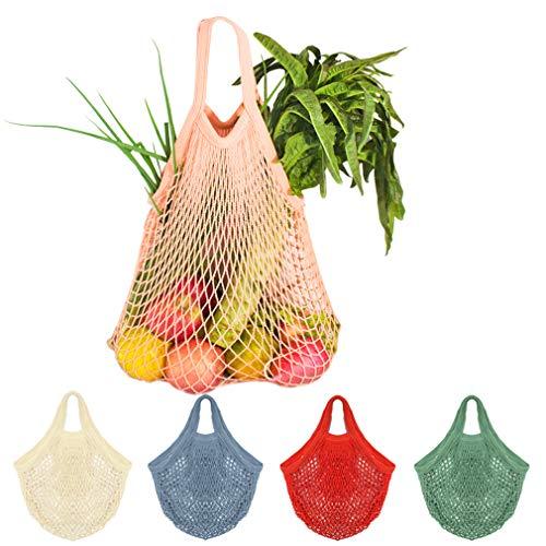 5 Stück Netz Einkaufstasche, Creatiees Wiederverwendbar Mesh Baumwolle Einkaufen Tote Handtasche, tragbar Einkaufsnetz Veranstalter für Lebensmittel...