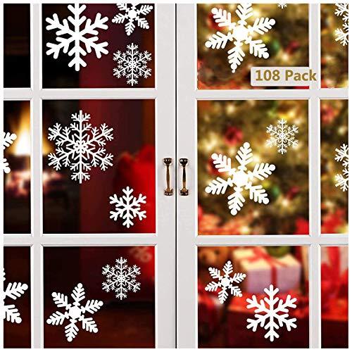 Lynlon 108 Fensterdeko Schneeflocken Schneeflocken Fensterbilder Abnehmbare Fensterdeko Statisch Haftende PVC Aufkleber für Weihnachts-Fenster Dekoration,...