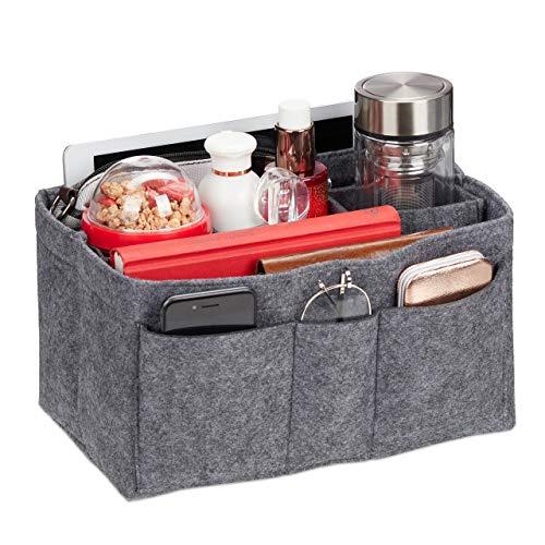 Relaxdays Taschenorganizer Handtasche, Filz, entnehmbare Fächer, Handtaschenorganisator Damen, Größe L, dunkelgrau