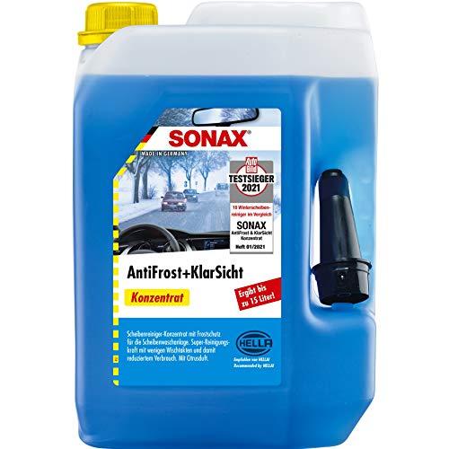 SONAX AntiFrost&KlarSicht Konzentrat (5 Liter) ergibt bis zu 15 Liter Winter-Scheibenwaschwasser, sofort mischbereit, schlierenfrei, Antikalk-Effekt | Art-Nr....