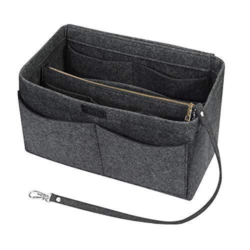 Ropch Handtaschen Organizer für Frauen, Filz Taschen Organisator Tote Organizer Handtaschenordner Bag in Bag Organizer mit Reißverschluss-Tasche, Mittelgrau -...
