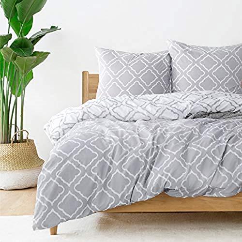 Bedsure Bettwäsche 135X200 Mikrofaser 2 teilig - grau Bettbezug Set mit Gitter Muster, weiche Flauschige Bettbezüge mit Reißverschluss und 1 mal 80x80cm...