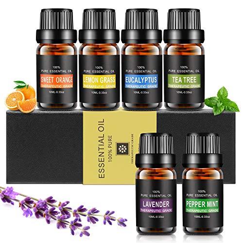 Ätherische Öle Set, Aiemok 6 x 10ml Aromatherapie Duftöl Set, 100% Bio Naturrein Aroma-Öl für, 6 Different Aromas - Lavendel, Pfefferminze, Zitronengras,...