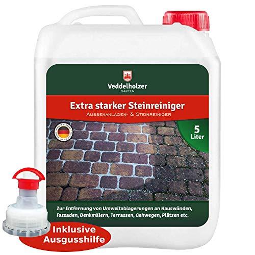Veddelholzer Außenanlagenreiniger Steinreiniger 5 Liter Konzentrat mit Langzeitwirkung Qualität aus Germany Grünbelagentferner Wege Pflastersteine Fugen ohne...