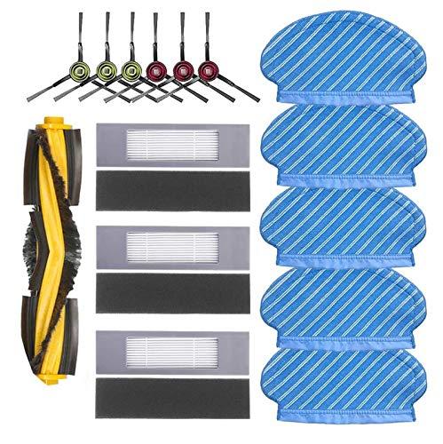 Gestreifte Besenbaugruppe Gestreifte Besen-Baugruppe für Deebot Ozmo-Ecovacs 5 Lappen, 6 Seitenbürsten, 3 Filter, 3 Schwämme und 1 Walzenbürste.