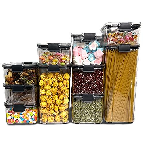 Vorratsdosen Set 10PCS Kunststoff Frischhaltedosen Lebensmittelbehälter Auslaufsicher BPA frei luftdicht für Reisen Snacks Küche Kühlschrank Speisekammer...