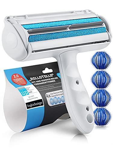 Bluepet® RolloTollo 2.0 Selbstreinigende Fusselrolle - Tierhaarentferner für Haustierhaar, Entfernung Tierhaar von Sofa, Bett & Möbel, Fusselbürste...