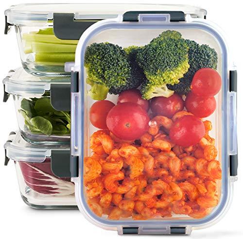 Zoë&Mii Lebensmittelbehälter aus Glas 4-er Set 880 ml - Hochwertige und luftdichte Glasschalen BPA-frei - Frischhaltedosen Vorratsdosen mit Smart Lock Deckel...