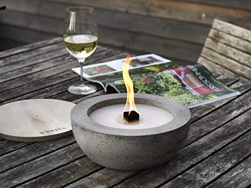 Beske-Betonfeuer mit 'Dauerdocht' | Ø 24cm mit großer Brennkammer | Wiederbefüllbare Gartenfackel | 'Unendliche' Brenndauer durch Recycling von Kerzenwachs |...