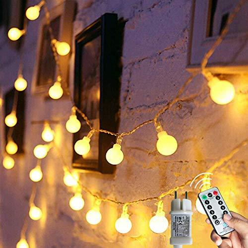 [120 LED] Lichterkette Kugel, 12M 8 Modi und Merk Funktion,lichterketten außen/innen mit Stecker, ideale party deko, kinderzimmer, balkon,weihnachtsbeleuchtung...