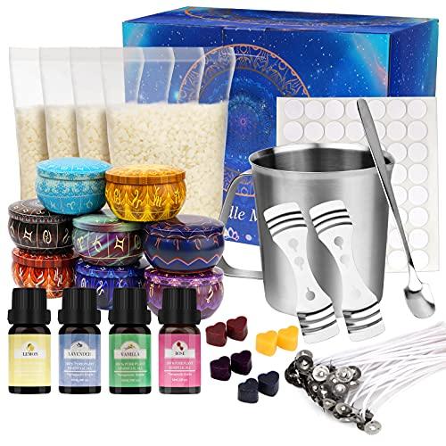 Kerzenherstellung Kit, DIY Kerzenherstellung Zubehör Duftkerze Geschenke Set Inklusive 480g Sojawachs 50 Dochte Dochthalter 4 Farben Farbstoffe 8...