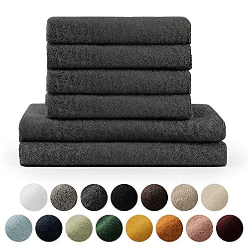 Blumtal Handtücher Set 2 Badetücher 70x140 + 4 Handtücher 50x100 - weich und saugstark, 100% Baumwolle, Oeko-Tex 100 Zertifiziert, Anthrazit