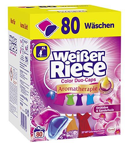 Weißer Riese Color Duo-Caps (80 Waschladungen), Aromatherapie Orchidee & Sandelholz, ergiebige Waschmittel Caps für Familien, Colorwaschmittel extra stark...